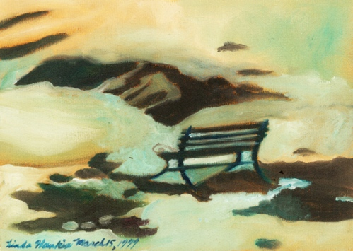 """Bench By The Pond"". oil on paper"