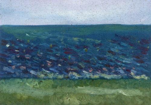 """Humberstone Beach, Port Colborne #2"", oil on wood"