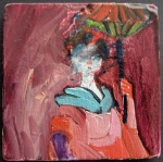 """Woman #1"", part of a series of women, oil on ceramics, 7 on one board"