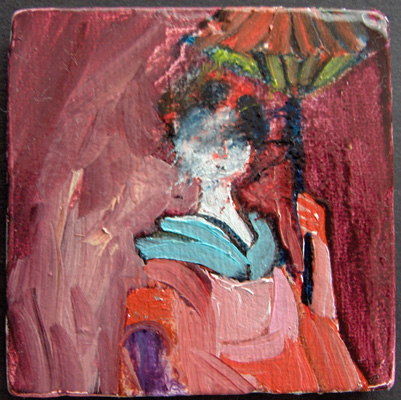 """""""Woman #1"""", part of a series of women, oil on ceramics, 7 on one board"""