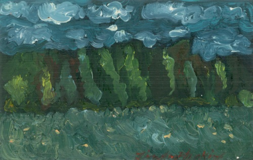 """Looking Out On Fields (1st painting after Phillips death)"""