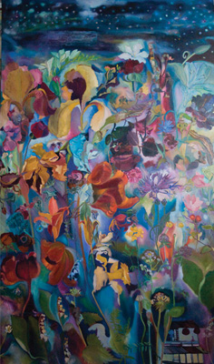 """Wild Flowers On Star Lit Night"", 74""h x 47""w"