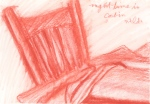 """Night Time In Cabin, conte drawing, 7 1/2""""w x 5 1/2""""h, $290"""