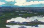 """Shoreline At Blackhead, Newfoundland #1"", oil pastel, 5 1/2""w x 4""h, $250"
