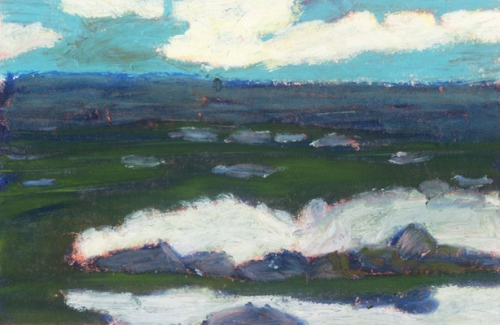 """Shoreline At Blackhead, Newfoundland #1"", oil pastel, 5 1/2""w x 4""h, $250"