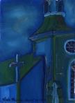"Church On Highway #2, Trinity Newfoundland"", oil on wood, $275"