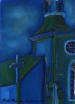 "Church On Highway #2, Trinity Newfoundland"", oil on wood, $275"