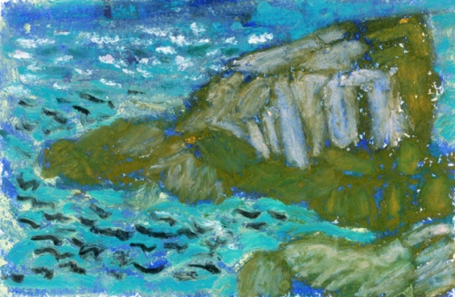 """Blackhead, Newfoundland #1"", oil pastel, 5 3/4""w x 4 1/2""h, $250"
