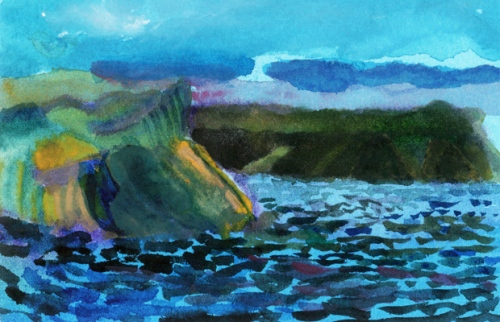 """Going To Bay de Verde, Newfoundland #3"", gouache, 5 1/2""w x 4""h, $250"