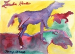 """Three Horses"", watercolour"