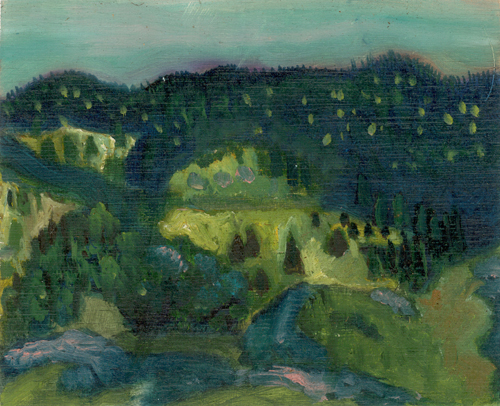 """On Top Of Hill, Trinity, Newfoundland"", oil on paper"