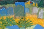 """""""Cemetery In Front Of Cabin, Blackhead, Newfoundland"""", 7 1/2""""w x 5 1/2""""h, $280"""