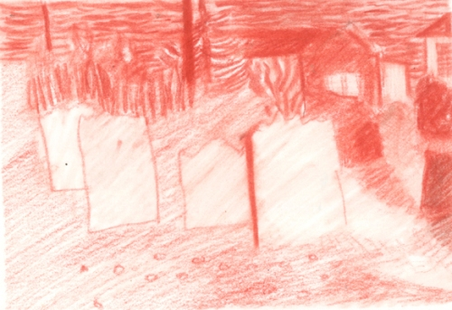 """""""Cemetery Outside Cabin, Newfoundland"""", conte drawing, $280"""